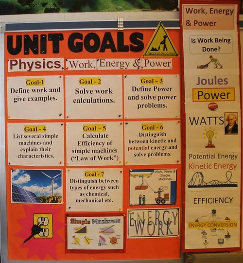 Physics Work and energy goals