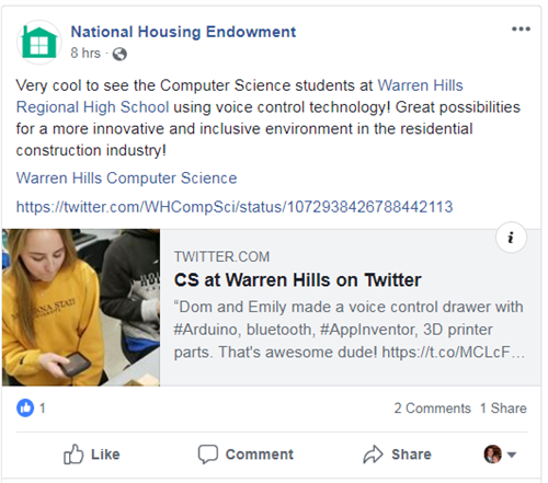 Posting on Facebook from National Housing Endowment